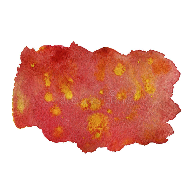 Aquarellstelle mit Rot und Gelb spritzt Hand gezeichnet vektor abbildung