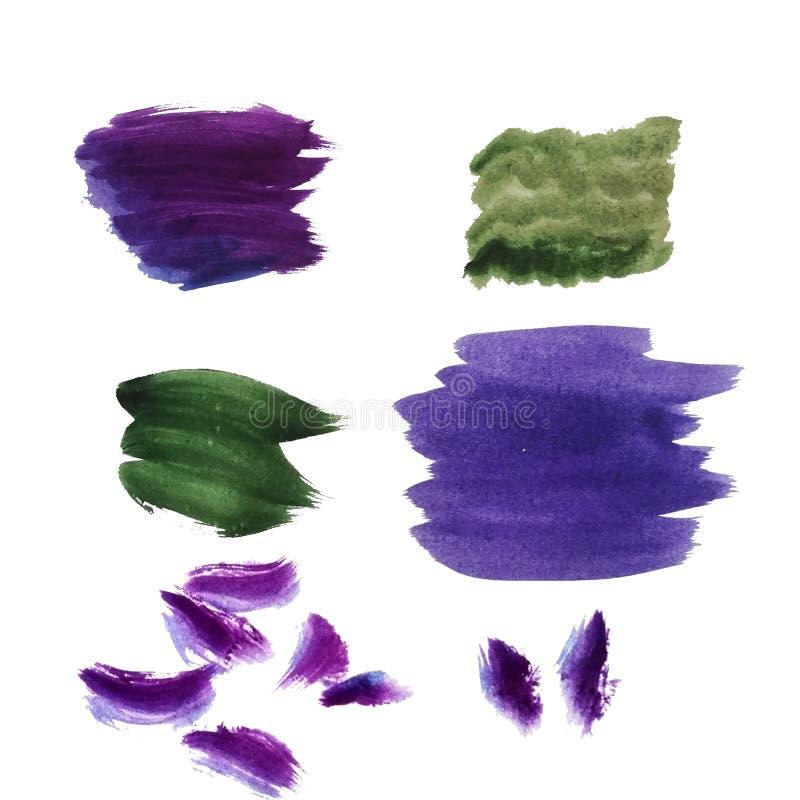 Aquarellstellen, Abstriche auf einem weiß-entstellten Hintergrund freie R?ume f?r Entwurf stock abbildung