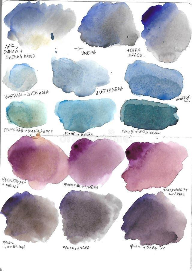 Aquarellstellen, Farben, Beschaffenheiten, Blau, Burgunder, grüne, rote, graue Stellen stock abbildung