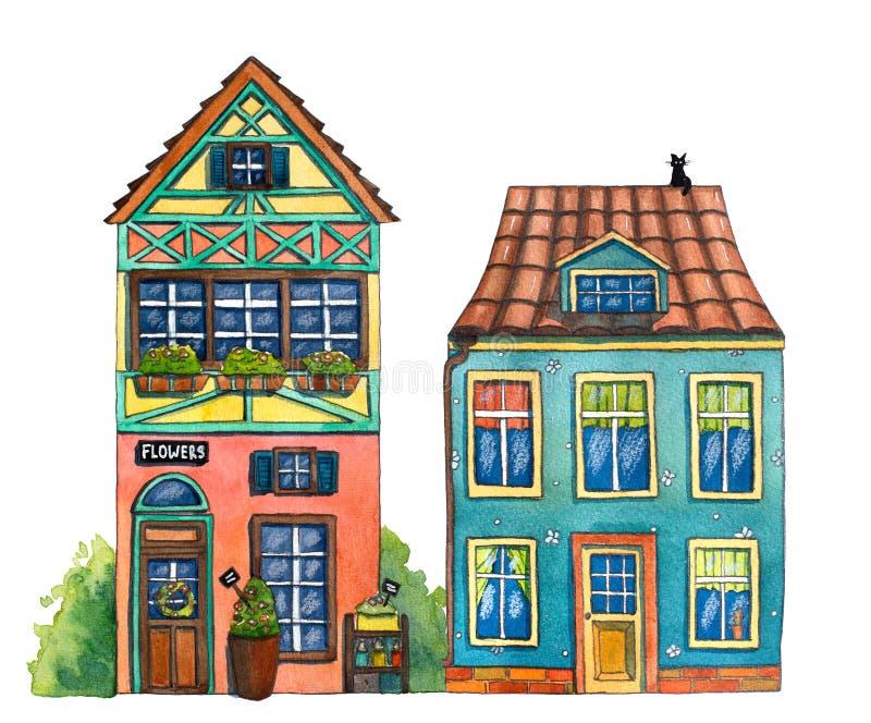 Aquarellstraße mit Häusern, Blumenshop und Katzen lizenzfreie abbildung