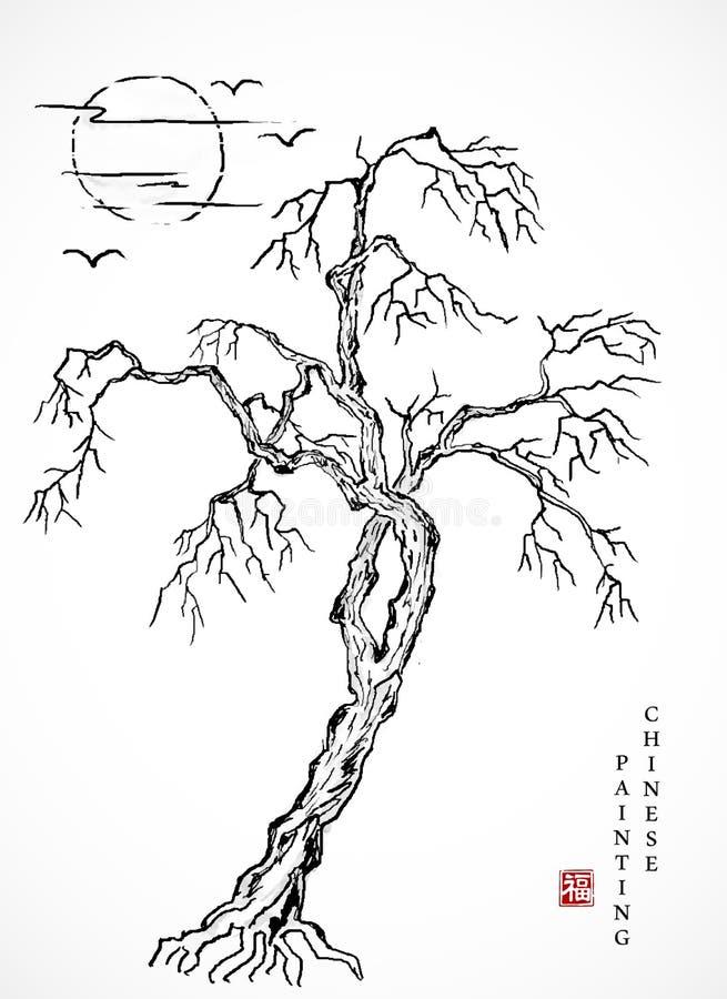 Aquarelltintenfarbenkunstvektorbeschaffenheits-Illustrationslandschaft des verwelkten Baums und des Sonnenuntergangs Übersetzung  lizenzfreie abbildung