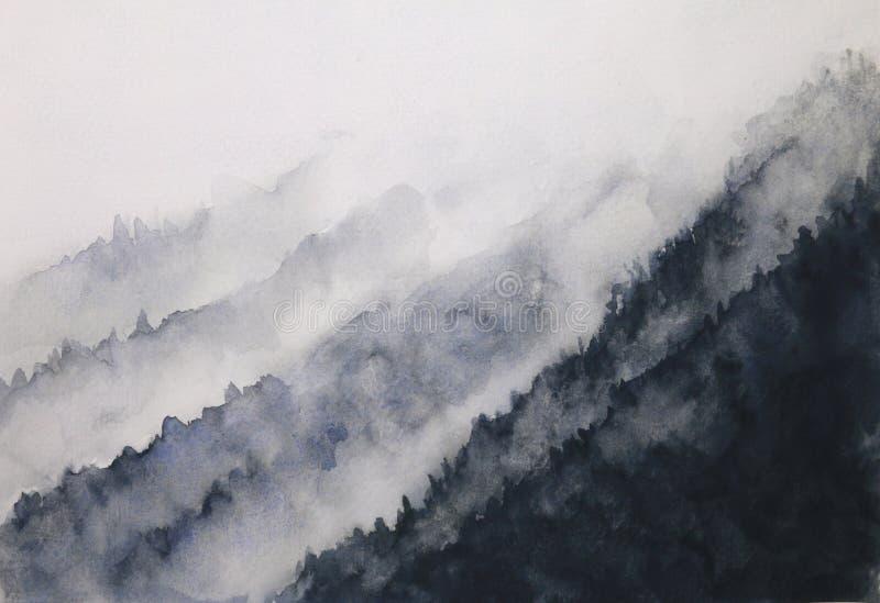 Aquarelltintenlandschaftsgebirgsnebel traditionelle orientalische Tintenasien-Kunstart Hand gezeichnet auf Papier stock abbildung