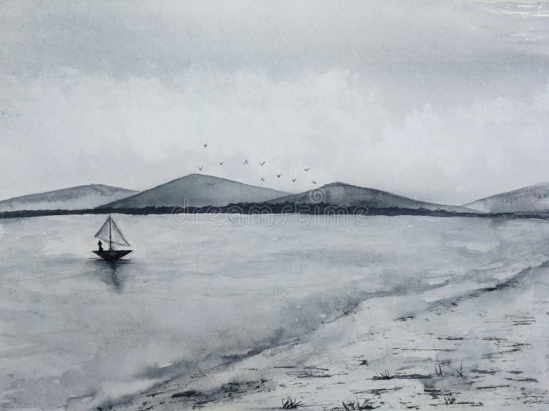 Aquarelltintenlandschaftshochseefischerei-Segelboot zu den K?sten- und Inselbergen nebeln Vogelfliegen im Himmel ein Traditionell lizenzfreie abbildung
