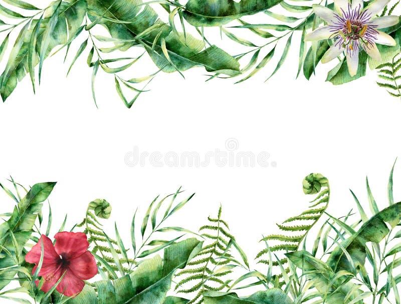 Aquarelltropische Blumenkarte Handgemalter Sommerrahmen mit vektor abbildung