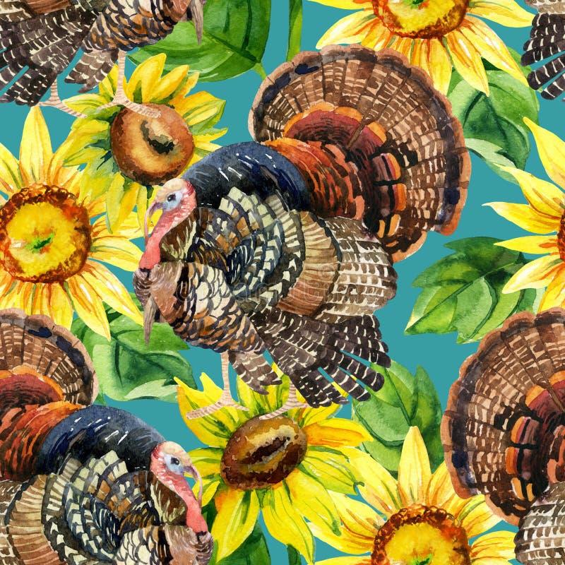Aquarelltruthahn mit nahtlosem Muster der Sonnenblumen stock abbildung