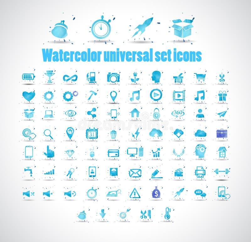 Aquarelluniversalsatzikonen auf weißem Hintergrund vector Illustration vektor abbildung