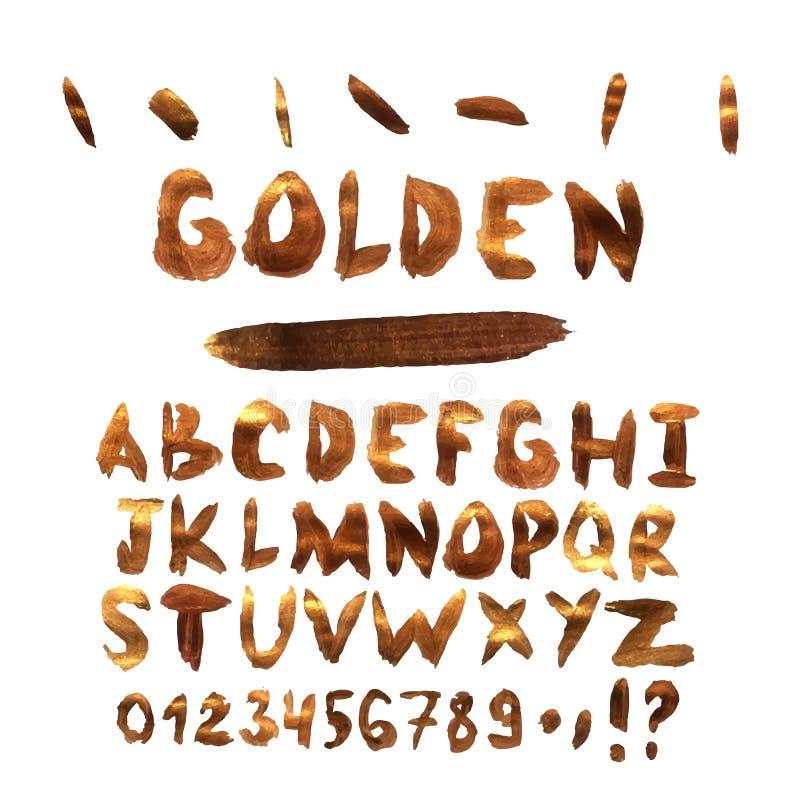 Aquarellvektor in der goldenen Art Abstraktes Alphabet mit Buchstabegoldfarbe Hand gezeichneter Schrifttyp vektor abbildung
