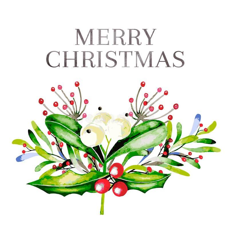 Aquarellvektorillustration Weihnachtsblumenstrauß mit Mistelzweig, Stechpalme ziemlich und guelder rosafarbenen Beeren glückliche stock abbildung