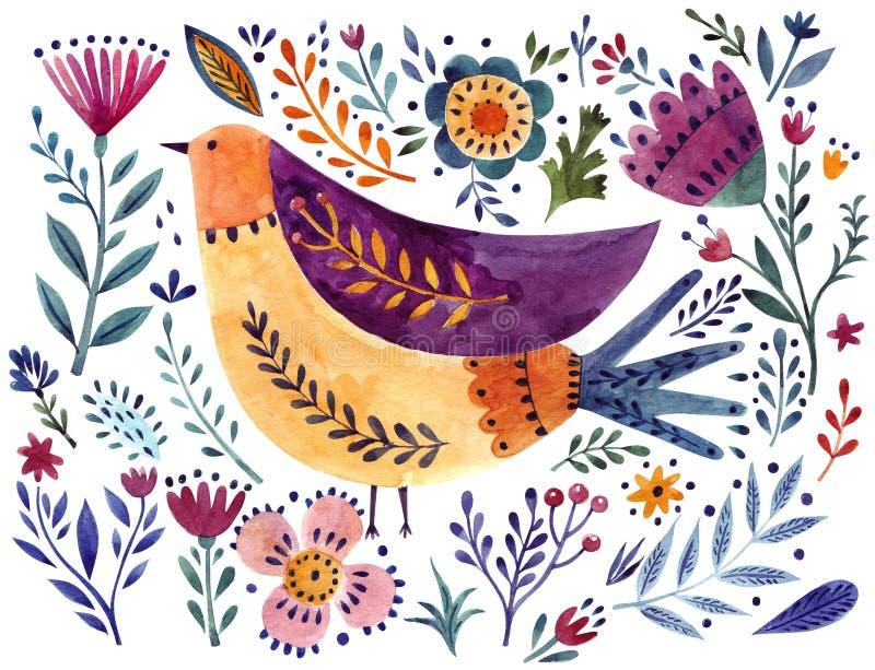 Aquarellvogel und -blumen stock abbildung