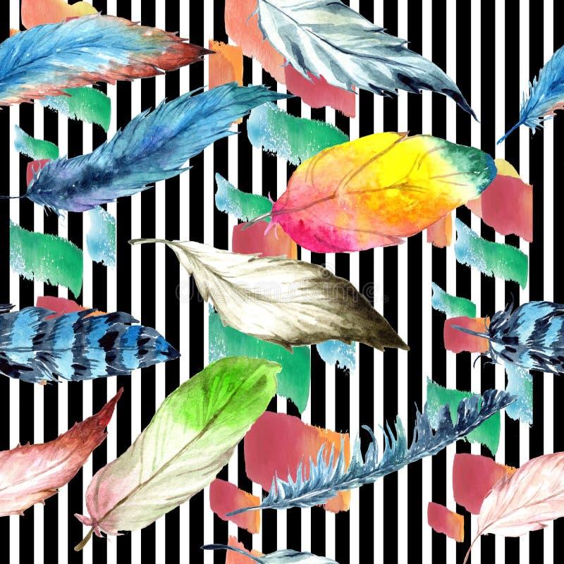 Aquarellvogelfeder vom Flügel Nahtloses Hintergrundmuster Gewebetapeten-Druckbeschaffenheit lizenzfreie stockfotos