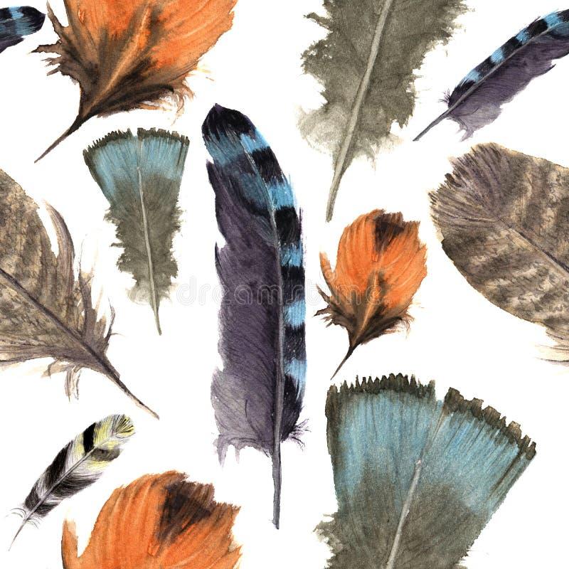 Aquarellvogelfedern boho Muster Nahtlose Beschaffenheit mit Hand gezeichneten Federn Abbildung für Ihre Auslegung Helle Farben stock abbildung