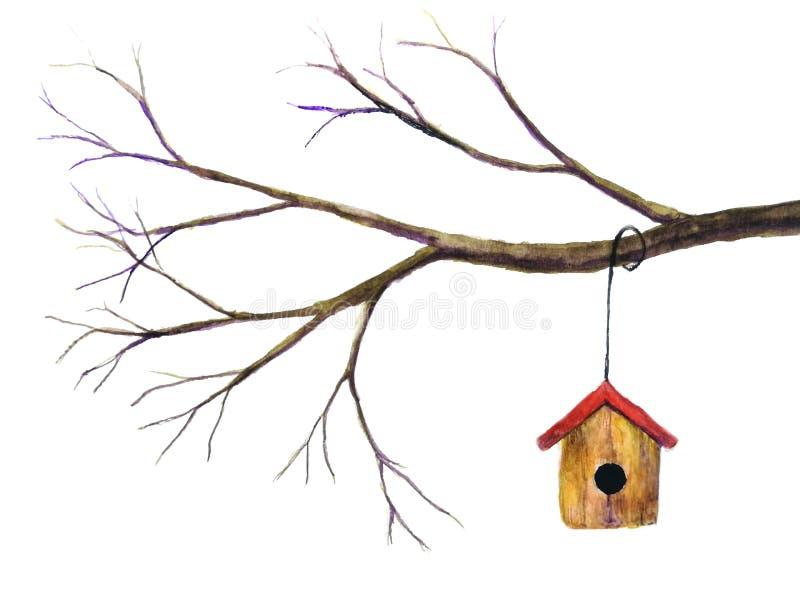 Aquarellvogelhaus, das an der Niederlassung hängt Lokalisierter weißer Hintergrund lizenzfreie abbildung