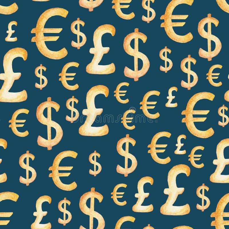 Aquarellwährungsmuster: Dollar, Euro, Pfund Haus mit Reflexion Illustration für Design, Druck oder Hintergrund stock abbildung