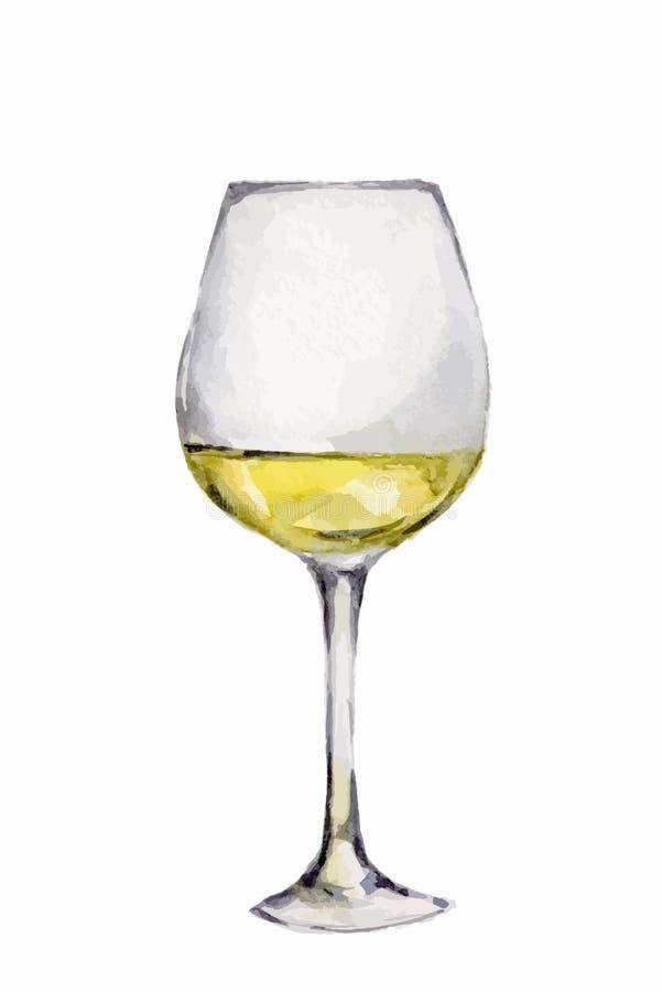 Aquarellweißweinglas lizenzfreie abbildung