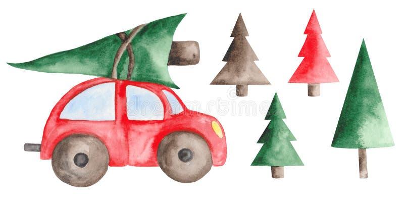Aquarellweihnachten eingestellt mit rotem Auto, Tannenbäumen, Bällen und Bonbons vektor abbildung