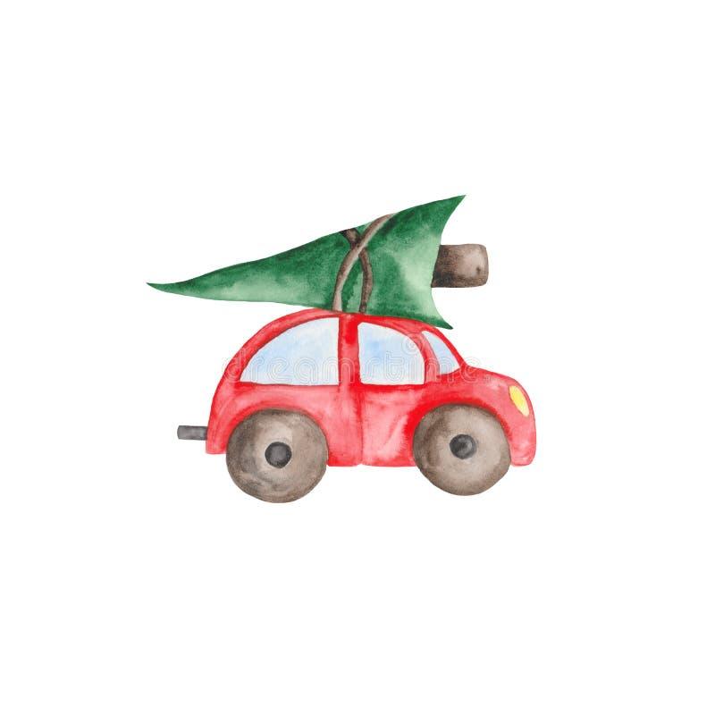 Aquarellweihnachten eingestellt mit rotem Auto, Tannenbäumen, Bällen und Bonbons stock abbildung