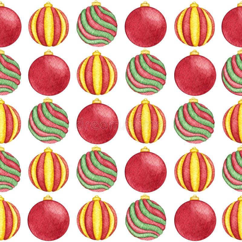 Aquarellweihnachtsbälle des rote, grüne und gelbe Farbnahtlosen Musters auf dem weißen Hintergrund lizenzfreie abbildung