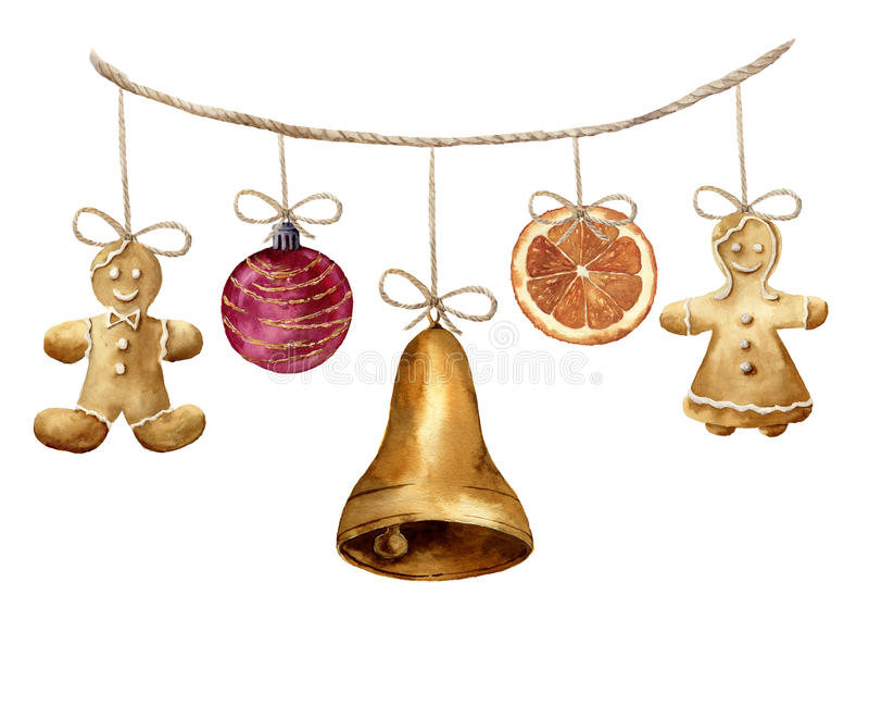 Aquarellweihnachtsgirlande mit Lebkuchenmann, Ball, Glocke und Orange Parteiillustration für Design, Hintergrund oder stock abbildung