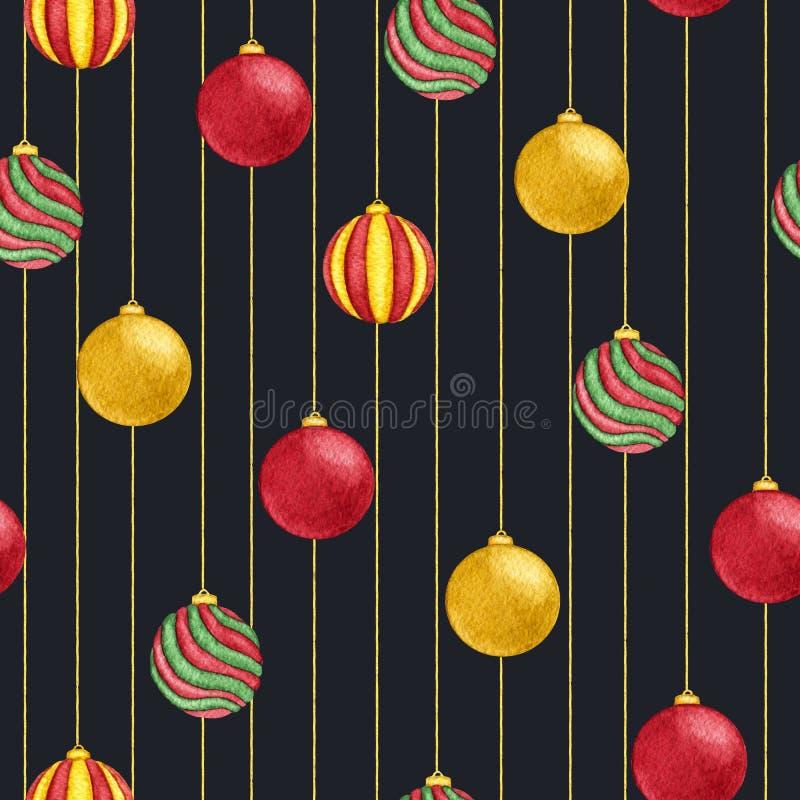 Aquarellweihnachtshängende Bälle des rote, grüne und gelbe Farbnahtlosen Musters auf dem schwarzen Hintergrund vektor abbildung