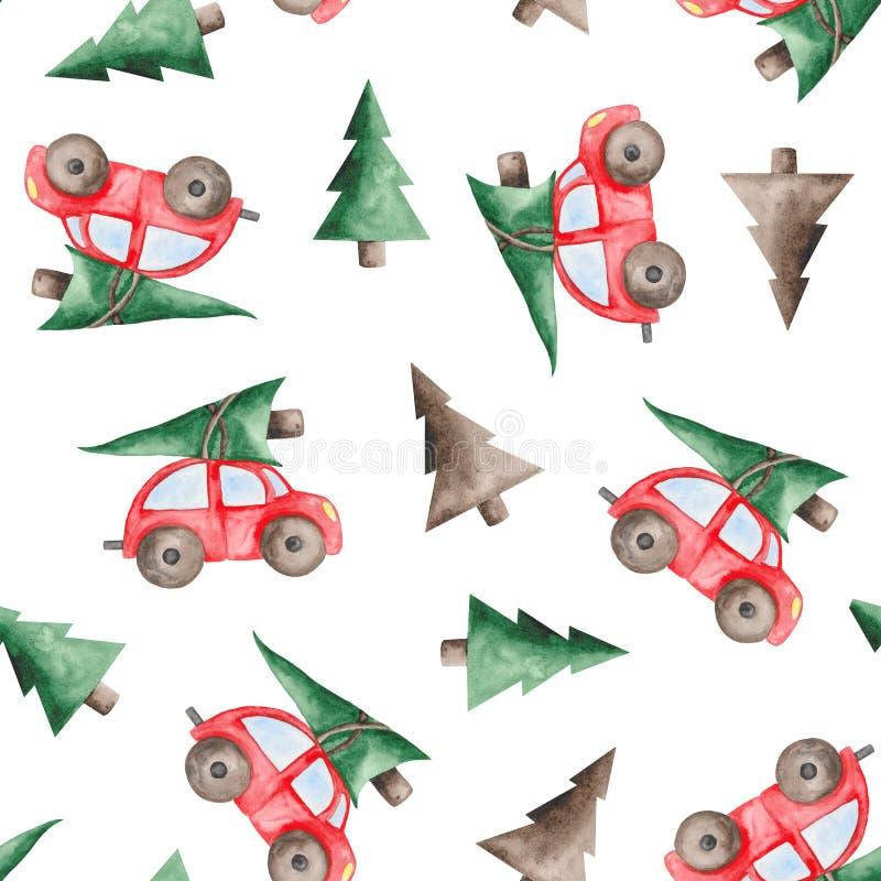 Aquarellweihnachtsmuster mit rotem Auto, Tannenbäumen, Bällen und Bonbons vektor abbildung