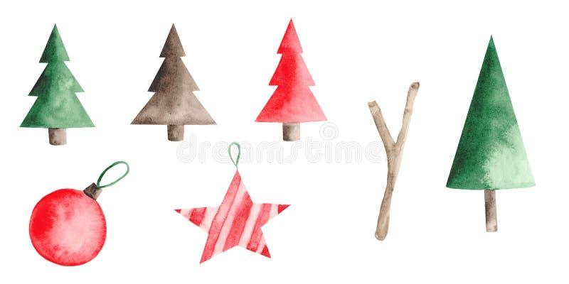 Aquarellweihnachtsmuster mit rotem Auto, Tannenbäumen, Bällen und Bonbons stock abbildung