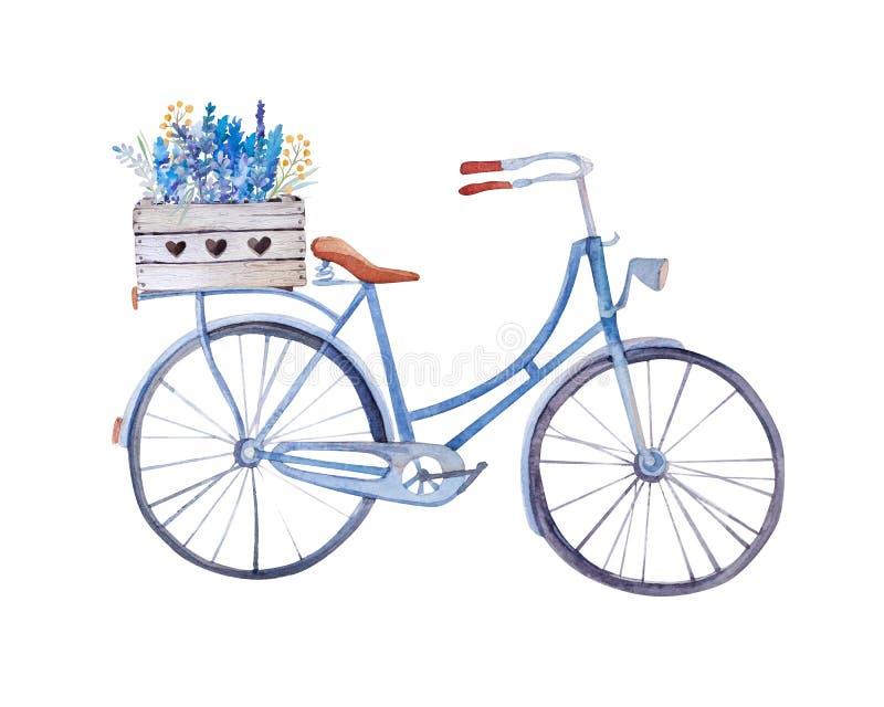 Aquarellweinlesefahrrad mit Kasten Blumen lizenzfreie abbildung