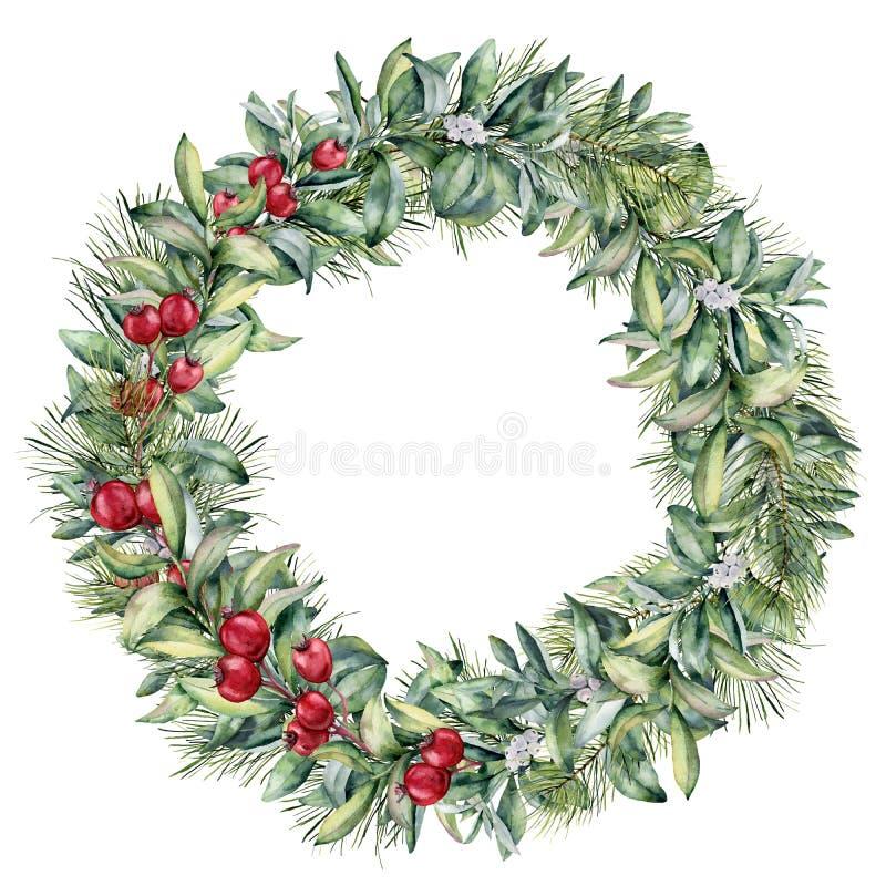 Aquarellwinter-Blumenkranz mit den weißen und roten Beeren Handgemalter Weihnachtsbaum und Snowberryniederlassung an lokalisiert stock abbildung