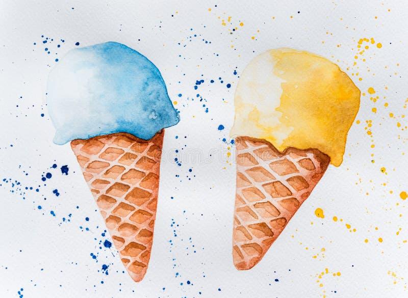 Aquarellzeichnung der Eiscreme stockbilder