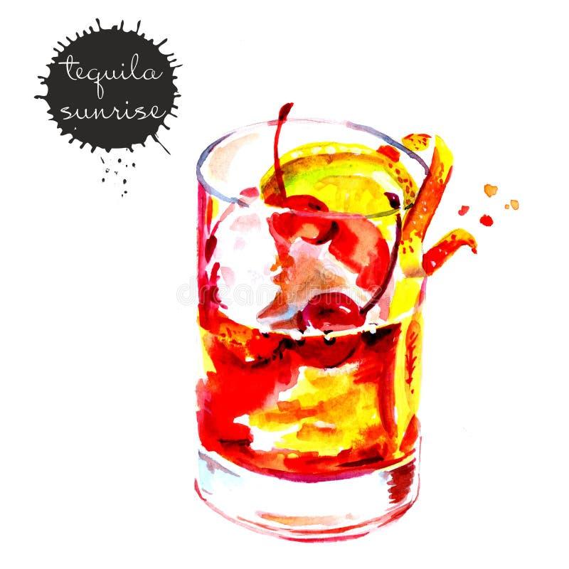 Aquarellzeichnung eines Cocktails mit Zitrone und Kirsche stock abbildung