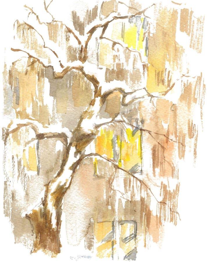 Aquarellzeichnung, Illustration Ansicht der Fenster des Apartmenthauses und des Baums unter dem Schnee stock abbildung