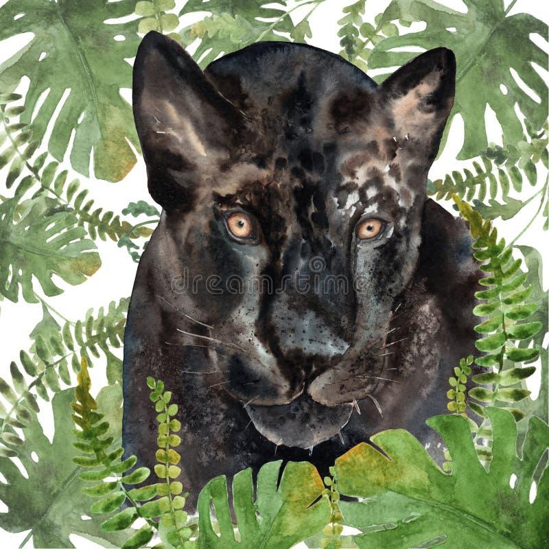 Aquarellzeichnung von einem Tier - Panther in den Tropen lizenzfreie abbildung
