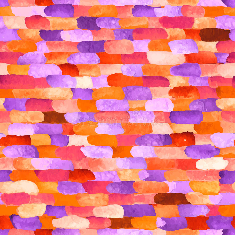 Aquarellziegelsteine Vektorabstraktes nahtloses Muster lizenzfreie abbildung