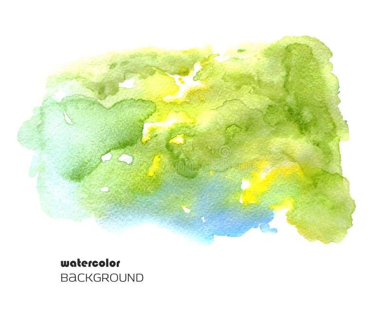 Aquarellzusammenfassungsfleck lokalisiert auf weißem Hintergrund Unscharfer nasser Fleck für Ihr Design stock abbildung