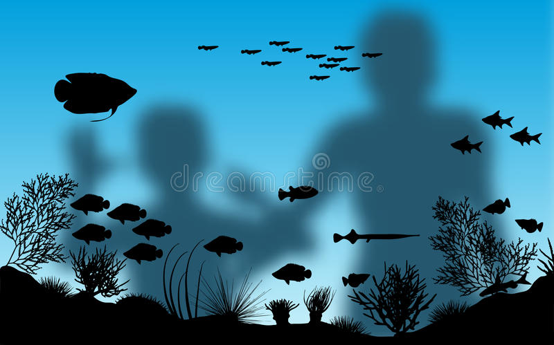 Aquarium. Editable illustration of blurred mother and son looking at fish in an aquarium with background made using a gradient mesh stock illustration