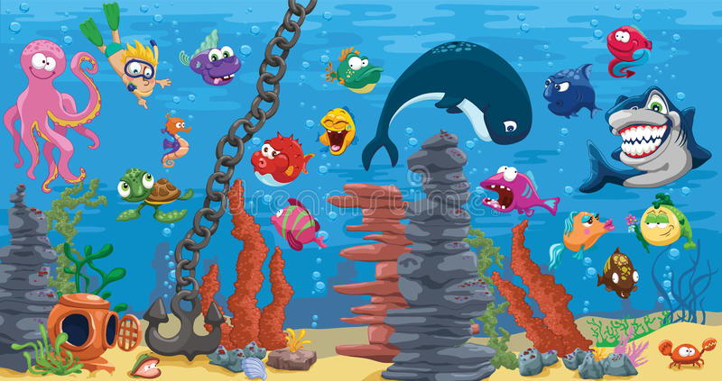Aquarium avec le beaucoup de poissons illustration libre de droits
