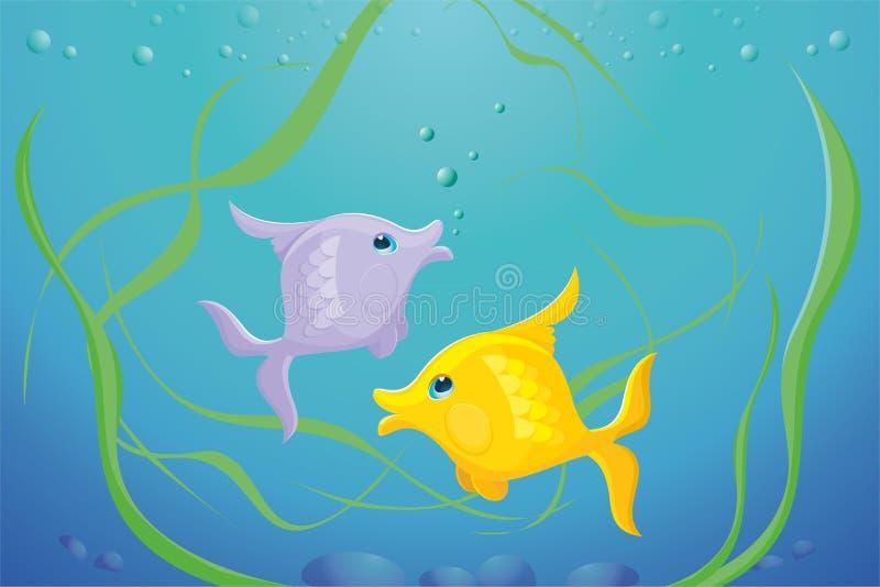 Aquarium avec les poissons et l'algue photo stock
