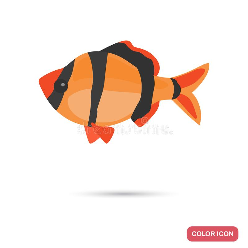 Aquarium barb fish color flat icon. For web and mobile design royalty free illustration
