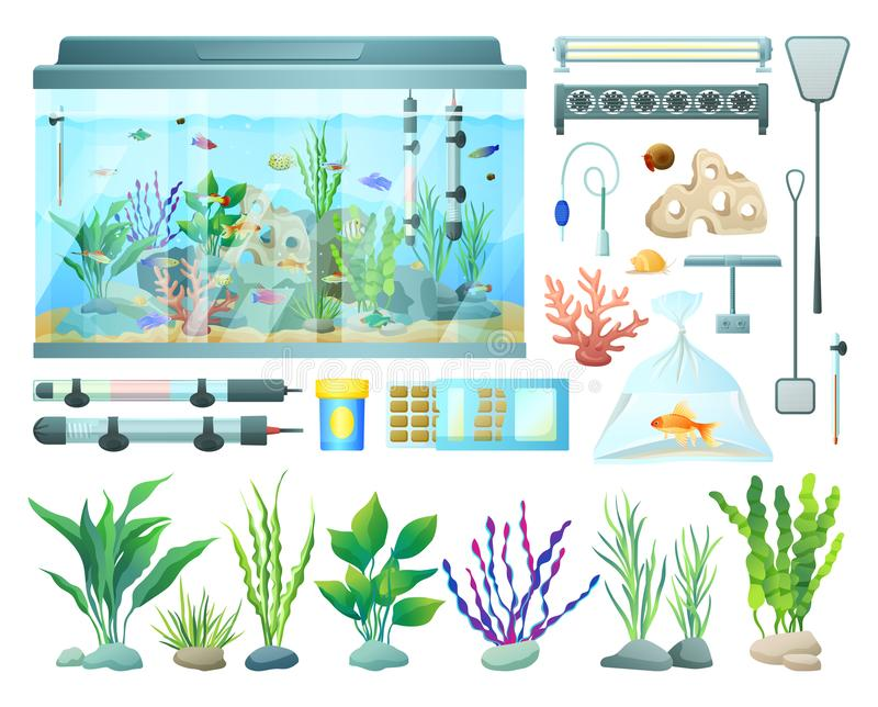 Aquarium Equipment and Varied Seaweed Collection. Vector illustration of underwater habitats and fish in packet, professional tools set for water care royalty free illustration