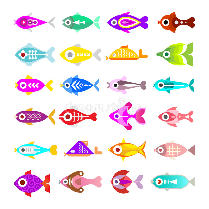 Aquarium Fish Vector Icons royalty free illustration