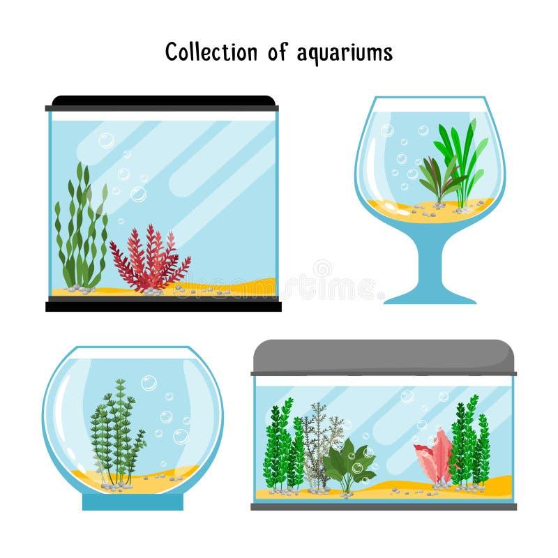 Aquarium forms vector illustration. Decoration home empty glass tanks isolated stock illustration