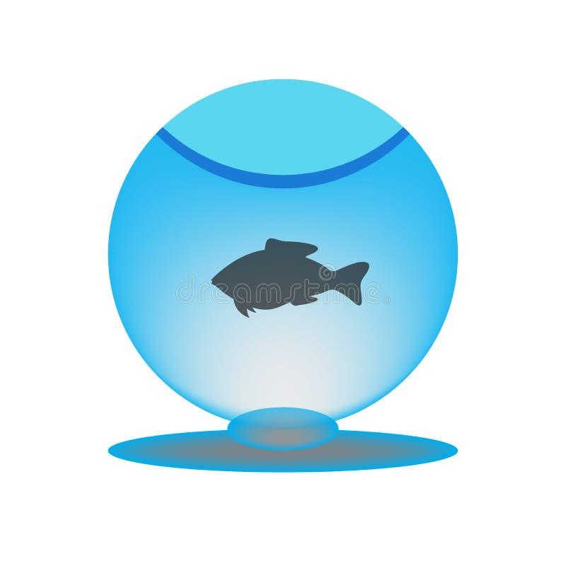 Aquarium mit Fischen Kapazität mit Wasser Schattenbild Runder Ball mit Flüssigkeit Auch im corel abgehobenen Betrag vektor abbildung