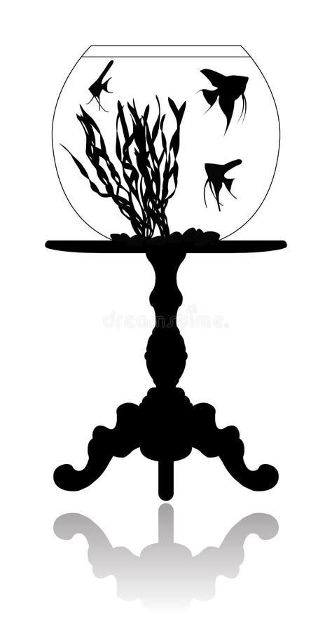 Aquarium rond sur un tourillon peu de table illustration de vecteur