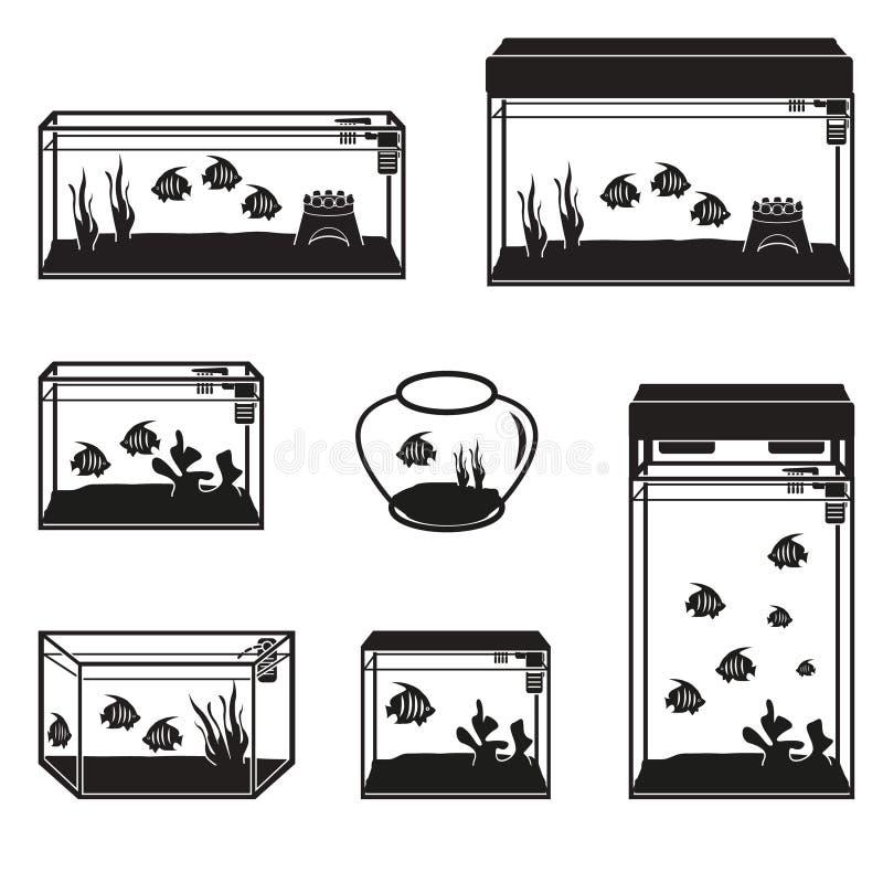 Aquarium vastgestelde vector stock illustratie