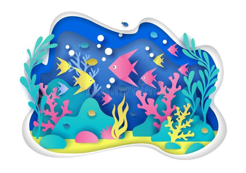 Aquarium vectorillustratie in document kunststijl royalty-vrije illustratie