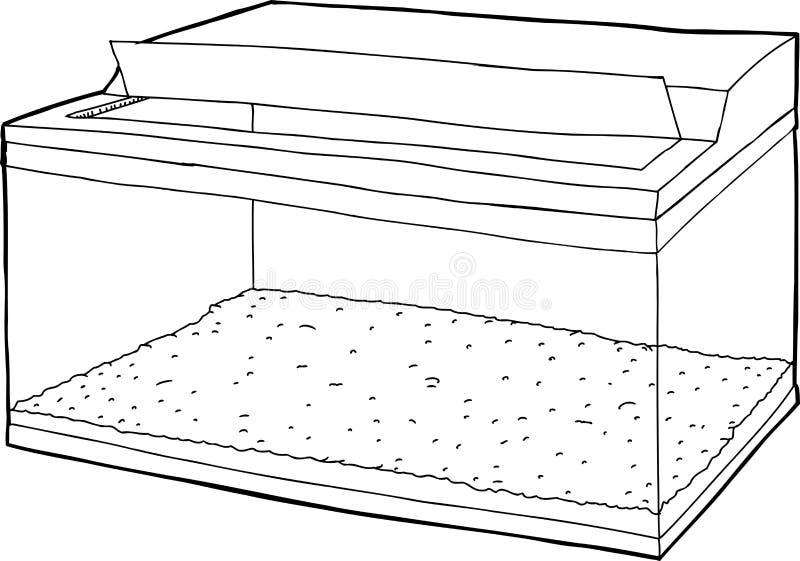Aquarium vide avec le couvercle ouvert illustration stock for Aquarium ouvert
