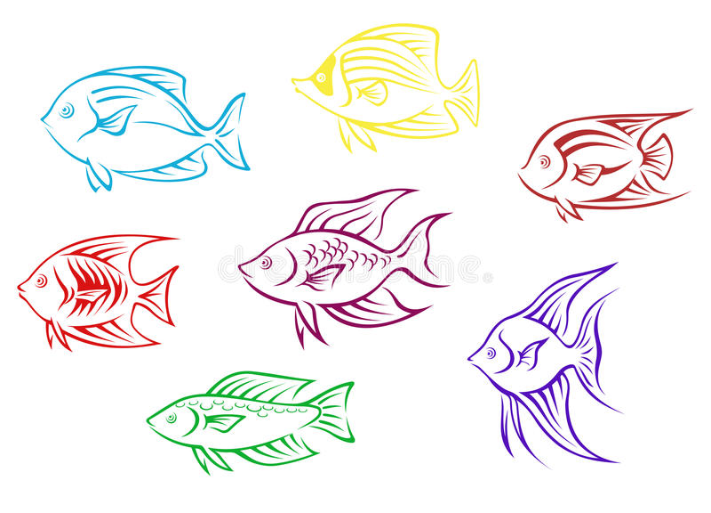 Aquariumfischschattenbilder stock abbildung