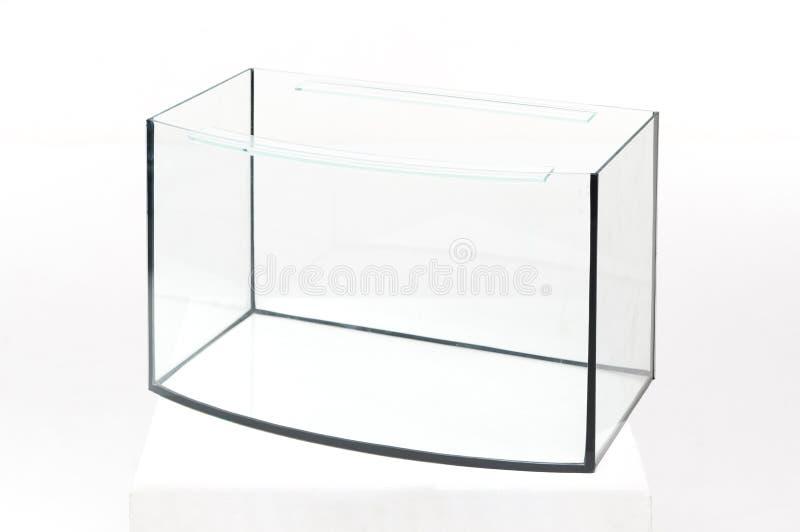 Aquariumglas, rechteckig auf einem weißen Hintergrund stockfotografie