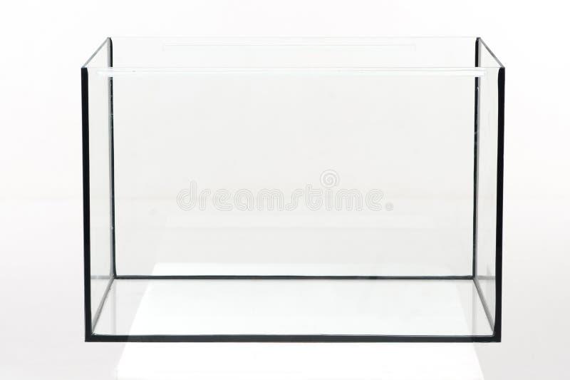 Aquariumglas, rechteckig auf einem weißen Hintergrund stockbilder