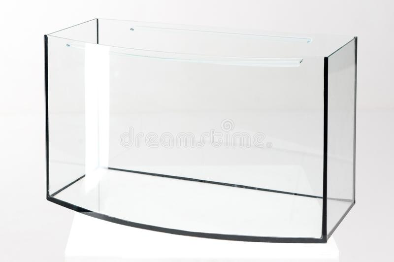Aquariumglas, rechteckig auf einem weißen Hintergrund stockfoto