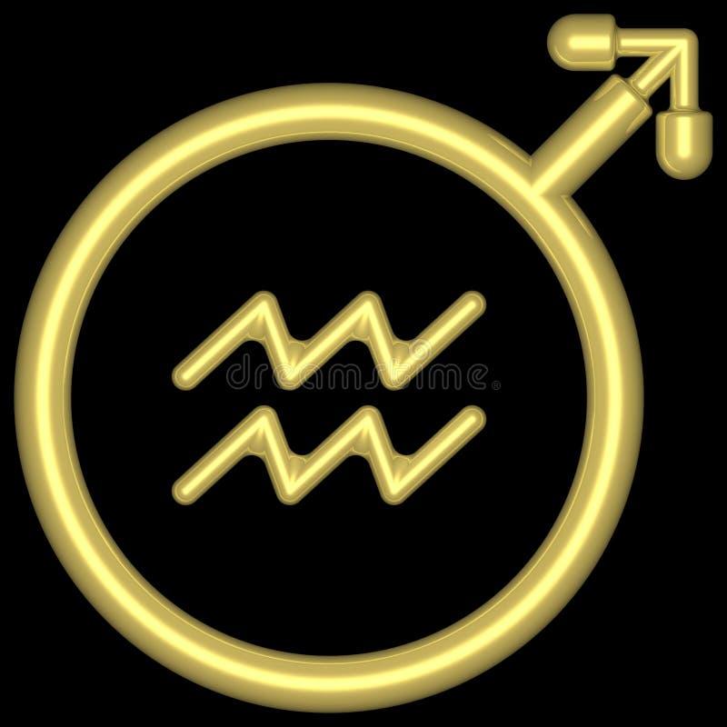 Aquarius 002 dello zodiaco illustrazione vettoriale